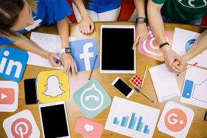 social media images on the table